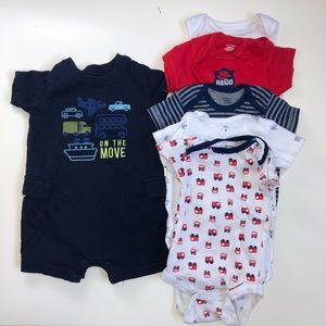 Lot of 9 month onsies and one shorts one piece!